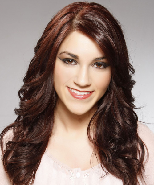 Long Wavy Casual Hairstyle - Dark Brunette (Burgundy)