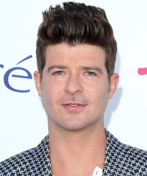 Robin Thicke Short Straight Hairstyle - Dark Brunette