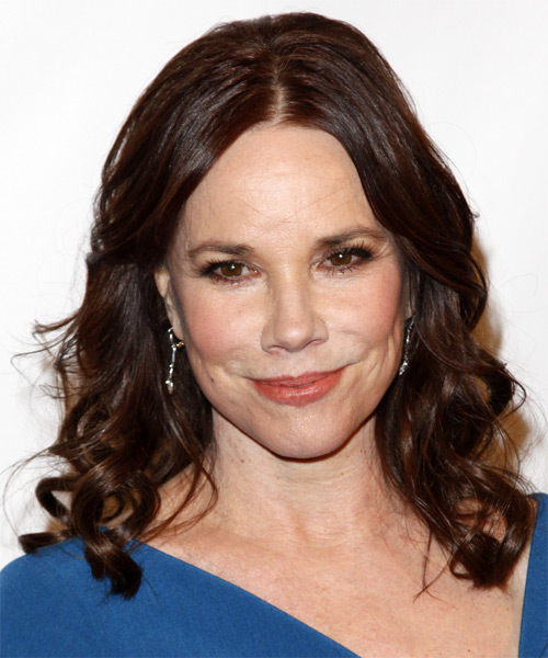Barbara Hershey Medium Wavy Casual Hairstyle - Dark Brunette (Mocha) Hair Color