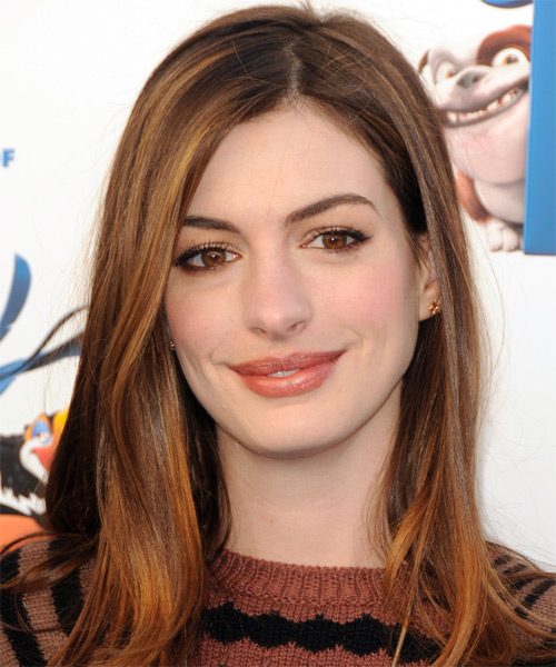 anne hathaway long straight formal hairstyle auburn