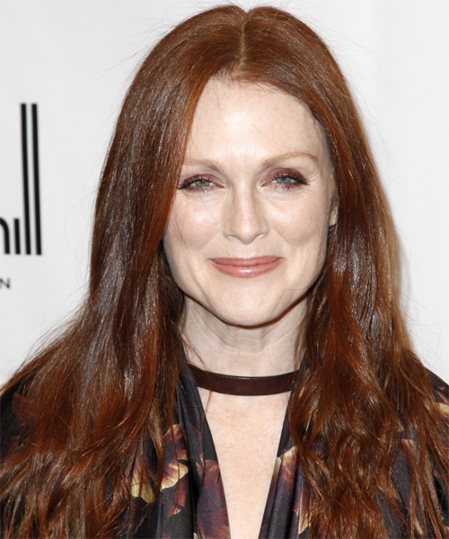 Julianne Moore Long Straight Casual Hairstyle - Medium Red (Chestnut) Hair Color