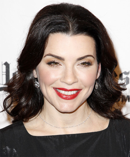 Julianna Margulies Medium Wavy Formal Hairstyle - Dark Brunette Hair Color
