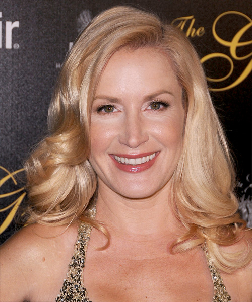 Angela Kinsey Medium Wavy Formal Hairstyle - Light Blonde (Champagne) Hair Color