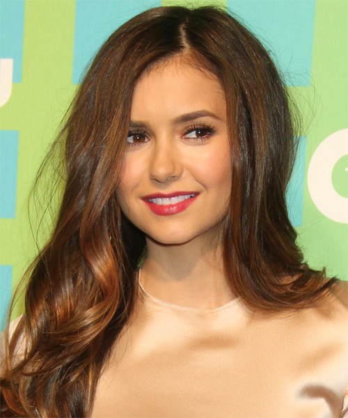 Nina Dobrev Long Wavy Hairstyle - Medium Brunette (Caramel)