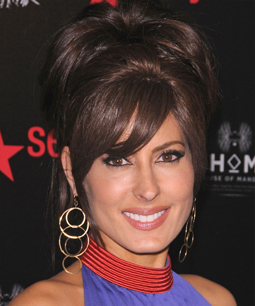 Kerri Kasem Straight Formal Updo Hairstyle with Side Swept Bangs - Dark Brunette (Mocha) Hair Color