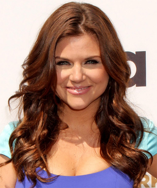 Tiffani Thiessen Long Wavy Hairstyle - Medium Brunette (Auburn)