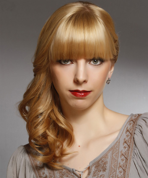Curly Formal Half Up Hairstyle with Blunt Cut Bangs - Dark Blonde (Honey) Hair Color