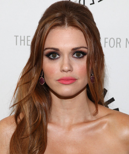 Holland Roden Half Up Long Straight Hairstyle - Medium Brunette (Chestnut)