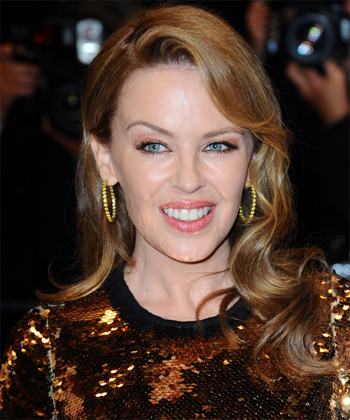 Kylie Minogue Long Wavy Formal Hairstyle Dark Blonde Ash