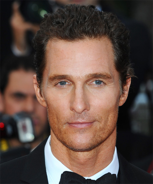 Matthew McConaughey Short Curly Casual Hairstyle - Medium Brunette Hair Color