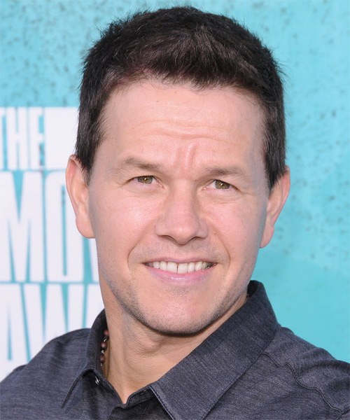 Mark wahlberg short straight hairstyle dark brunette chestnut