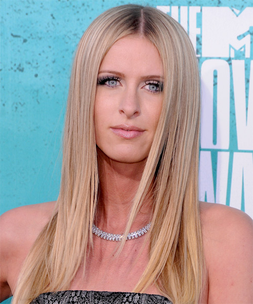Nicky Hilton - Straight  Long Straight Hairstyle - Light Blonde (Champagne)