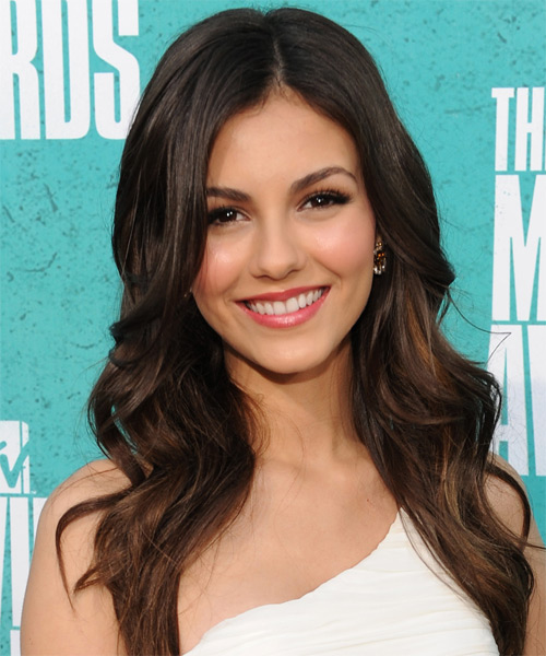 Victoria Justice Long Wavy Hairstyle - Dark Brunette