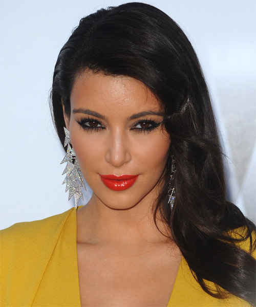 Kim Kardashian Long Straight Hairstyle - Dark Brunette