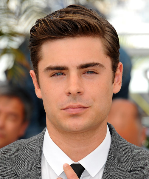 Zac Efron Short Straight Formal Hairstyle - Medium Brunette Hair Color