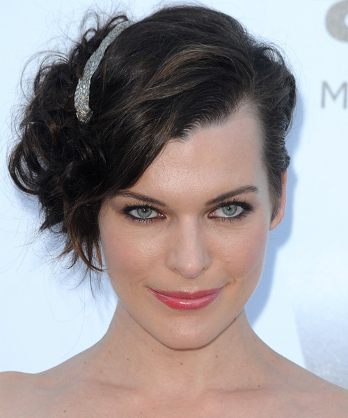 Milla Jovovich Curly Formal Updo Hairstyle with Side Swept Bangs - Dark Brunette Hair Color