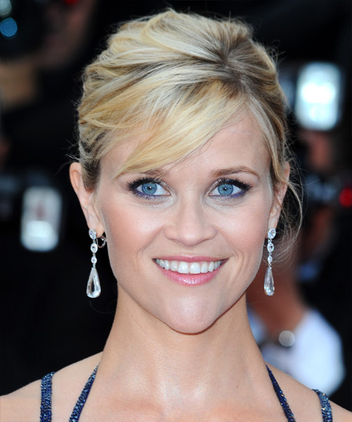 Reese Witherspoon Straight Formal Updo Hairstyle with Side Swept Bangs - Light Blonde Hair Color
