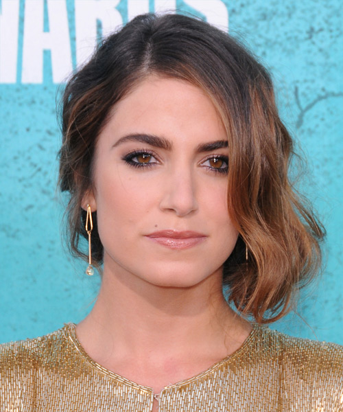 Nikki Reed Curly Formal Updo Hairstyle - Medium Brunette (Caramel) Hair Color