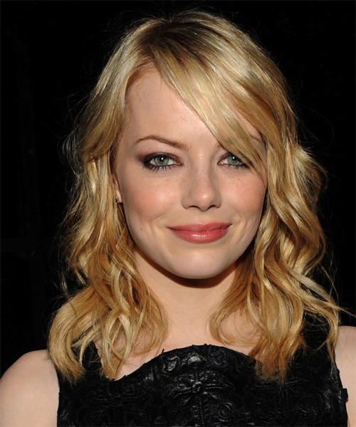 Emma Stone Medium Wavy Casual Hairstyle with Side Swept Bangs - Light Blonde (Golden) Hair Color