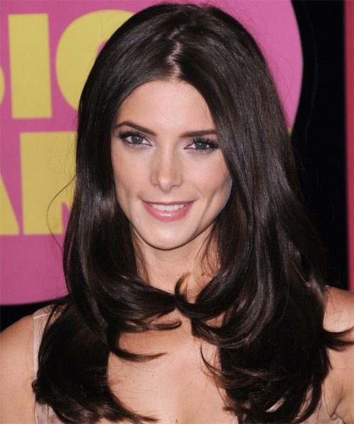 Ashley Greene - Straight  Long Straight Hairstyle - Black