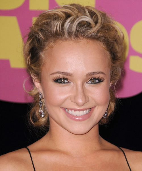 Hayden Panettiere Curly Formal Updo Hairstyle - Dark Blonde (Honey) Hair Color