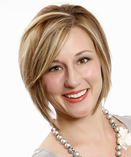 Short Straight Formal Bob Hairstyle with Side Swept Bangs - Dark Blonde Hair Color