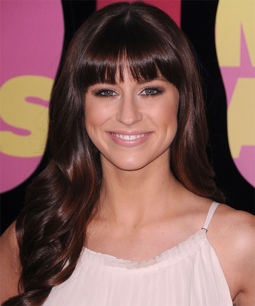 Rachel Reinert Long Straight Formal  with Blunt Cut Bangs - Dark Brunette (Burgundy)