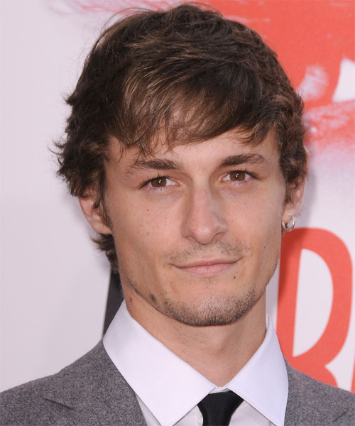 Giles Matthey  Medium Straight Casual Hairstyle with Side Swept Bangs - Medium Brunette Hair Color