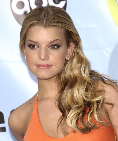 Jessica Simpson Long Wavy Formal Hairstyle - Light Brunette (Golden) Hair Color
