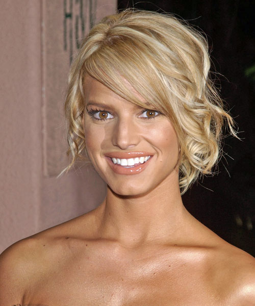 Jessica Simpson Curly Formal Updo Hairstyle with Side Swept Bangs - Light Blonde Hair Color