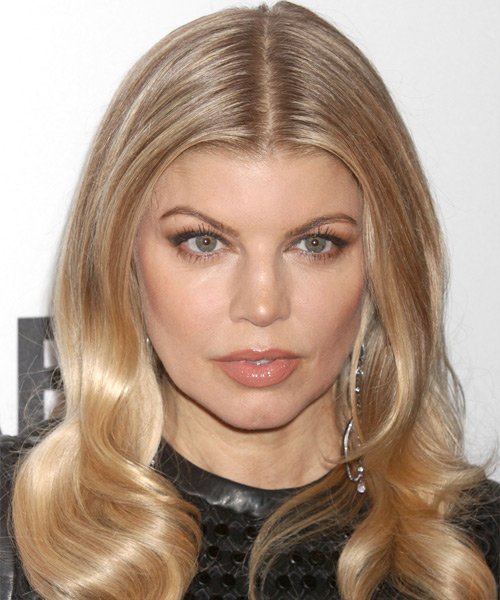 Fergie Long Wavy Formal Hairstyle - Dark Blonde (Golden) Hair Color