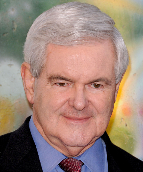Newt Gingrich Short Straight Formal Hairstyle - Light Grey (Grey) Hair Color
