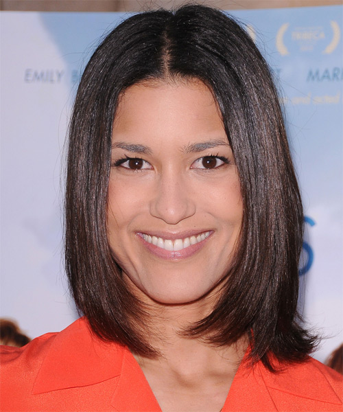 Julia Jones Medium Straight Formal Bob Hairstyle - Black Hair Color
