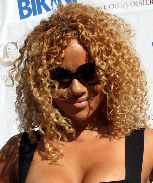 Christina Brave Williams Medium Curly Casual Afro Hairstyle - Dark Blonde (Golden) Hair Color