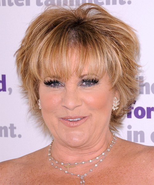Lorna Luft Short Straight Formal Hairstyle with Layered Bangs - Medium Blonde Hair Color