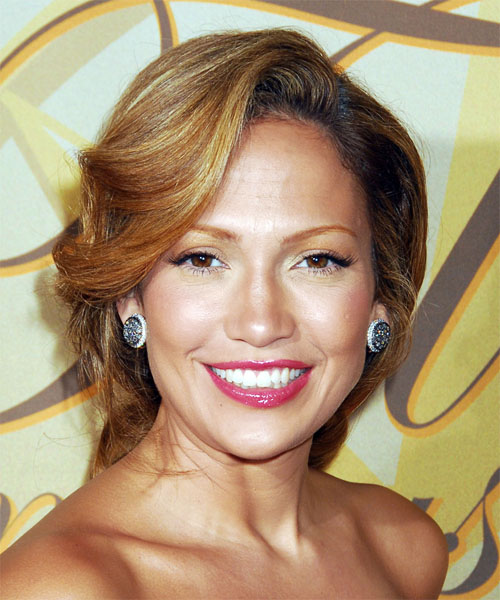 Jennifer Lopez Curly Formal Updo Hairstyle - Medium Brunette (Golden) Hair Color