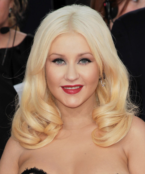 Christina Aguilera Long Straight Formal Hairstyle - Light Blonde (Platinum) Hair Color
