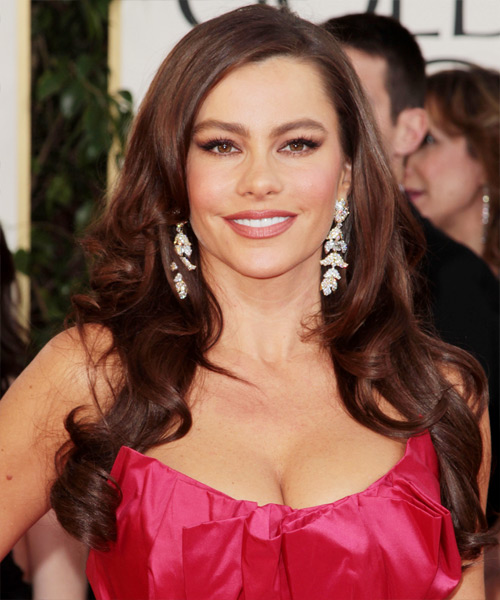 Sofia Vergara Long Wavy Formal Hairstyle - Dark Brunette (Chocolate) Hair Color