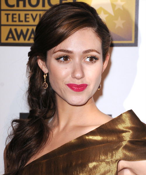 Emmy Rossum Formal Curly Half Up Hairstyle - Dark Brunette (Chocolate)
