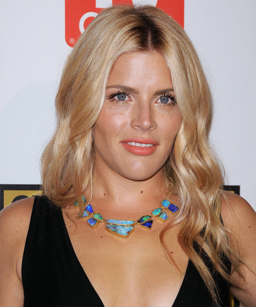 Busy Philipps Long Wavy Casual Hairstyle - Dark Blonde (Golden) Hair Color