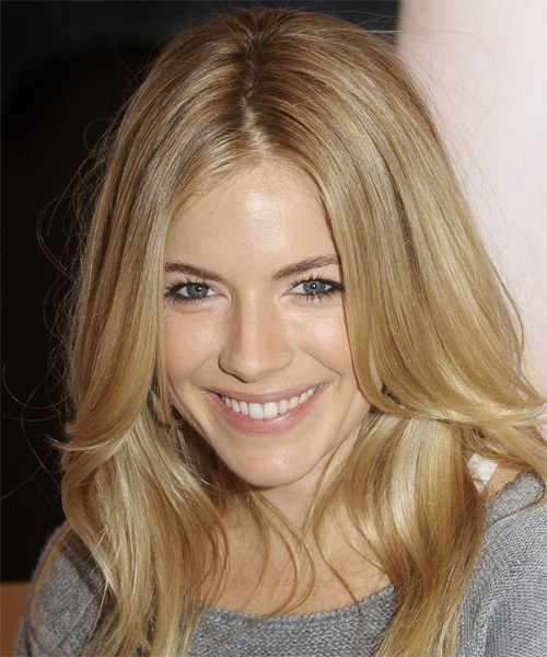 Sienna Miller Long Straight Casual Hairstyle - Dark Blonde (Champagne) Hair Color