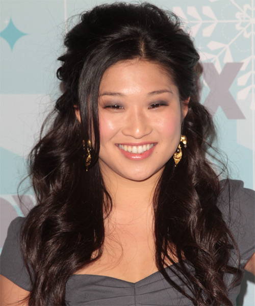 Jenna Ushkowitz Curly Casual Half Up Hairstyle - Black Hair Color