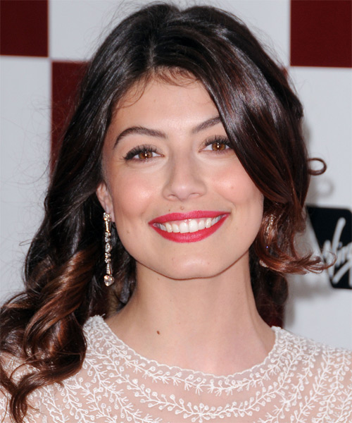 Alessandra Mastronardi Long Wavy Casual Hairstyle - Black (Mocha) Hair Color
