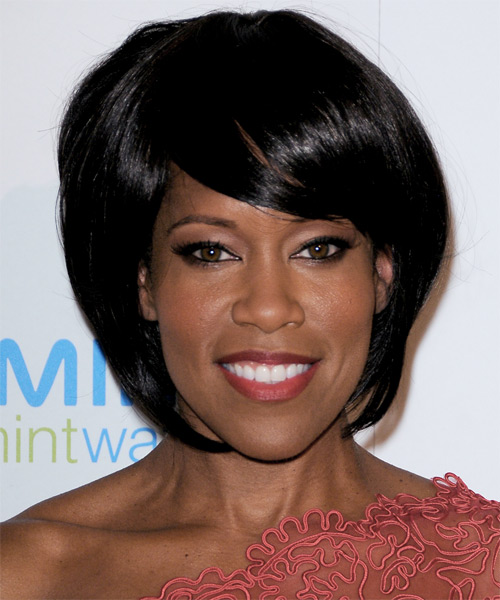 Regina King Medium Straight Formal Bob Hairstyle with Side Swept Bangs - Black Hair Color