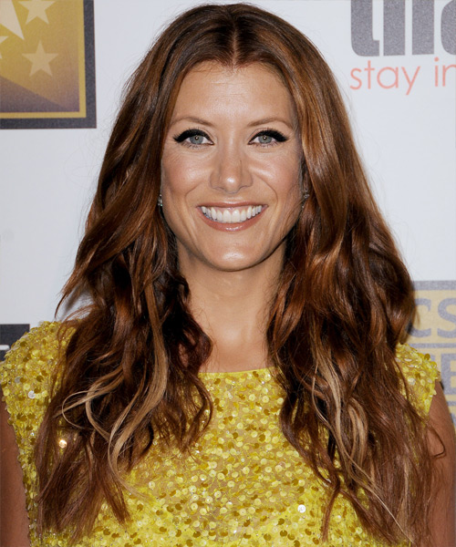 Kate Walsh Long Wavy Casual Hairstyle - Medium Red (Copper) Hair Color