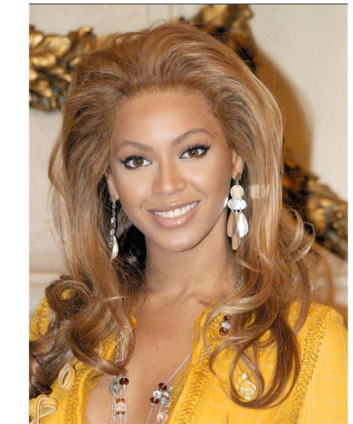Beyonce Knowles Long Wavy Formal Hairstyle - Light Brunette (Caramel) Hair Color