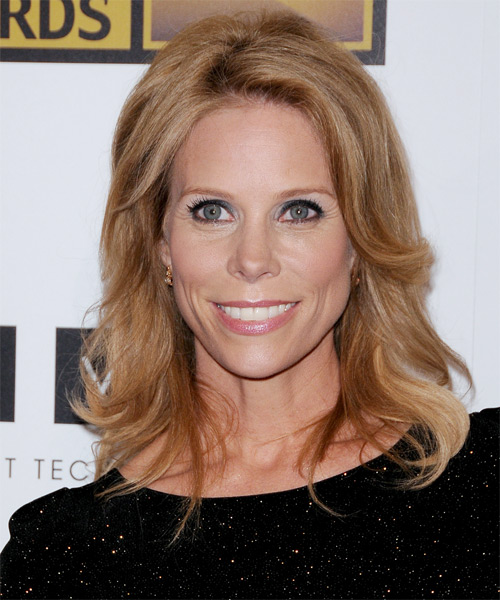 Cheryl Hines Medium Straight Casual Shag Hairstyle - Dark Blonde (Caramel) Hair Color