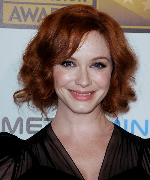 Christina Hendricks Curly Formal Updo Hairstyle with Side Swept Bangs - Dark Red (Copper) Hair Color