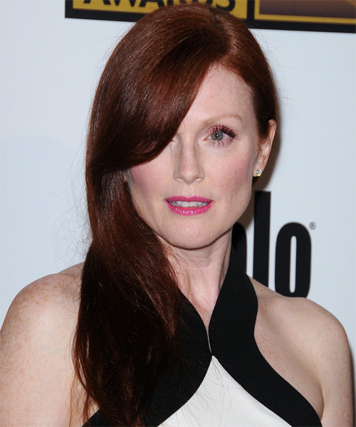 Julianne Moore Long Straight Formal Hairstyle - Dark Red (Auburn) Hair Color