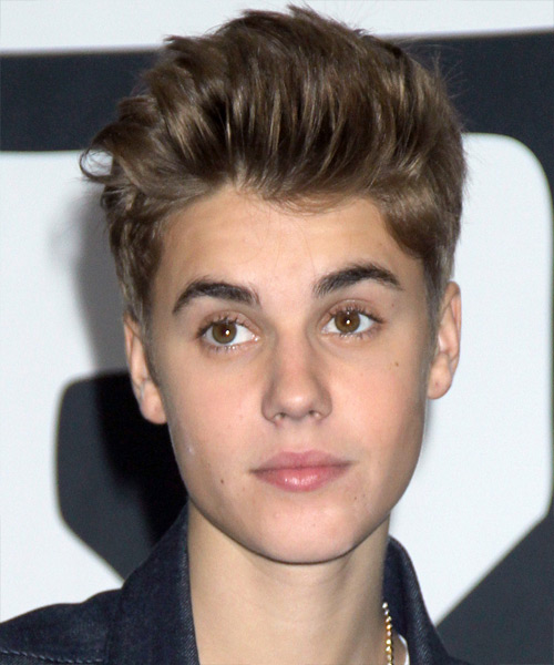 Justin Bieber Short Straight Hairstyle - Medium Brunette (Chocolate)